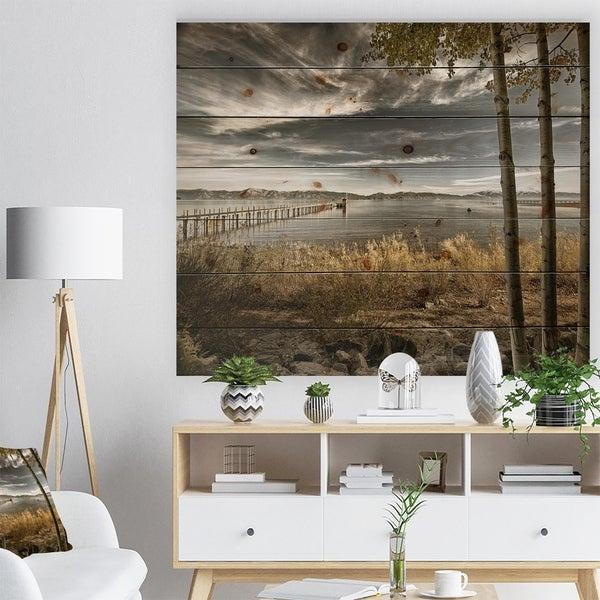 Designart 'Pier in Brown Lake' Landscape Photo Print on Natural Pine Wood