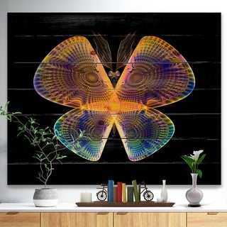 Designart 'Blue Yellow Fractal Butterfly in Dark' Abstract Print on Natural Pine Wood