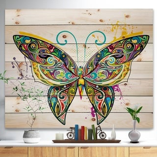 Designart 'Openwork Butterfly' Bohemian Print on Natural Pine Wood - Multi-color