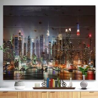 Designart 'Lit NYC Manhattan Skyline' Cityscape Photo Print on Natural Pine Wood - Brown