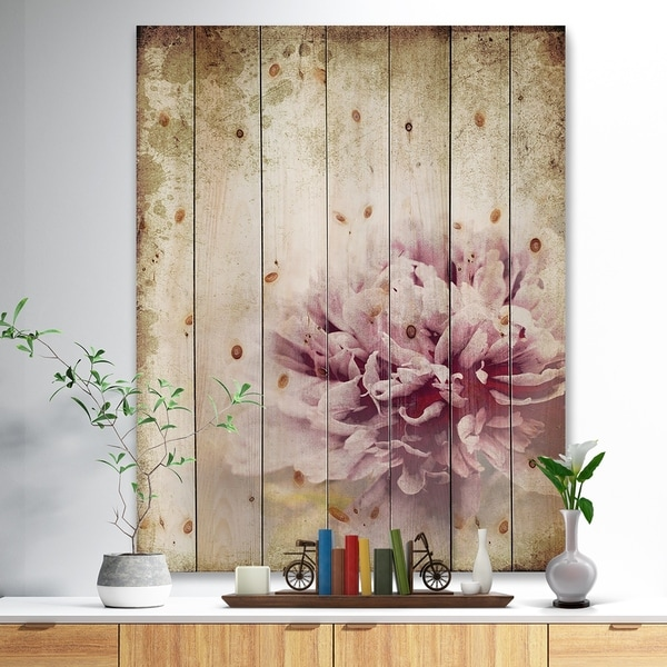 Designart 'Pink Peony in Vintage Style' Floral Art Print on Natural Pine Wood - Pink