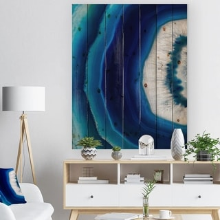 Designart 'Blue Agate Crystal' Abstract Print on Natural Pine Wood - Blue