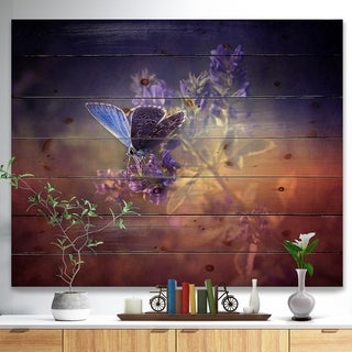 Designart 'Vintage Butterfly' Floral Art Print on Natural Pine Wood - Purple