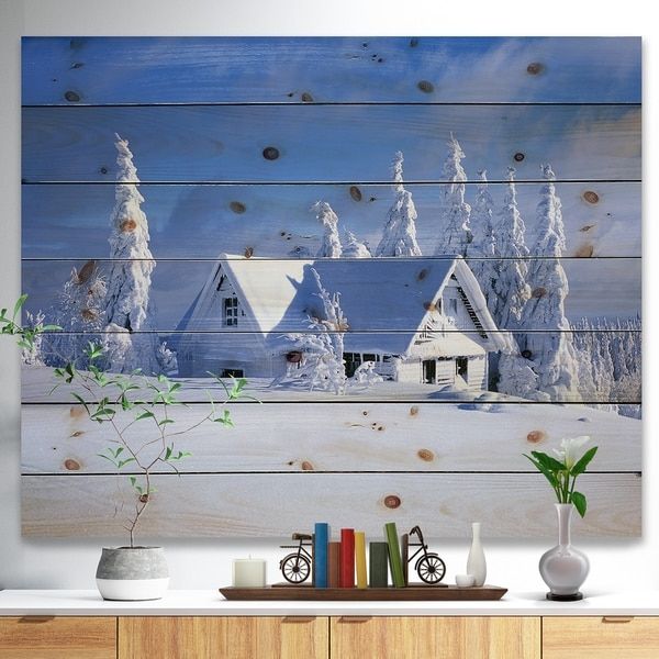 Designart 'Orlicke Hory Cottage in Winter' Landscape Photography Print on Natural Pine Wood - Blue