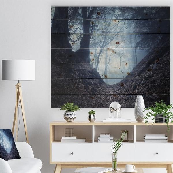 Designart 'Sunlight Hitting Foggy Forest' Landscape Photography Print on Natural Pine Wood - Green