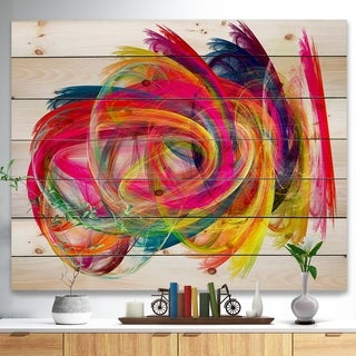 Designart 'Colorful Thick Strokes' Abstract Print on Natural Pine Wood - Multi-color