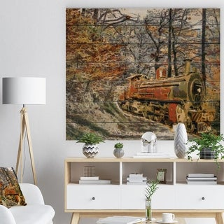 Designart 'Train in Forest Oil Painting' Landscape Print on Natural Pine Wood - Multi-color