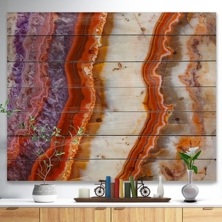 Designart 'Colorful Stone Stripes' Abstract Print on Natural Pine Wood - Red