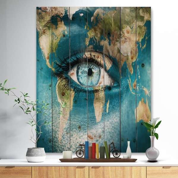 Designart 'Planet Earth and Blue Eye' Abstract Print on Natural Pine Wood