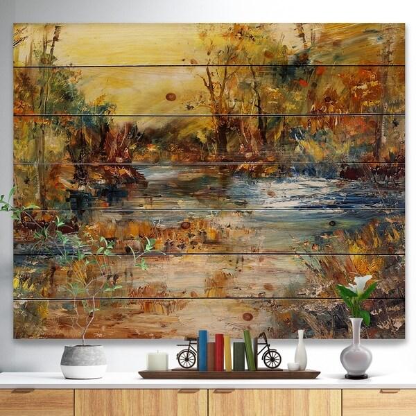 Designart 'River in Forest Oil Painting' Landscape Print on Natural Pine Wood - Multi-color