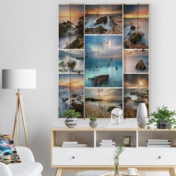 Designart 'Sea and Shore Collage' Seascape Photography Print on Natural Pine Wood - Blue