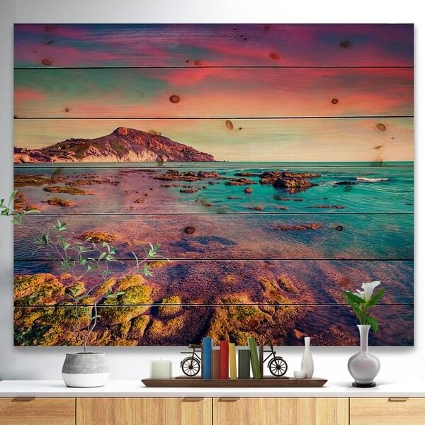 Designart 'Giallonardo Beach Colorful Sunset' Seashore Photo Print on Natural Pine Wood - Red