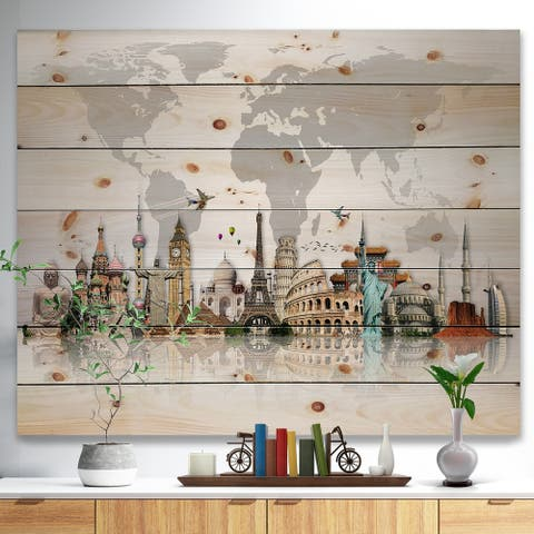 Designart 'Famous Monuments Across World Map' Print on Natural Pine Wood - Grey