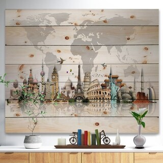 'Famous Monuments Across World Map' Print on Natural Pine Wood - Grey