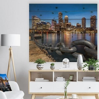 Designart 'Boston Skyline at Dusk' Cityscape Photo Print on Natural Pine Wood - Multi-color