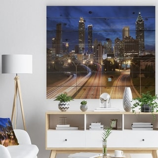 Designart 'Atlanta Skyline Twilight Blue Hour' Cityscape Print on Natural Pine Wood