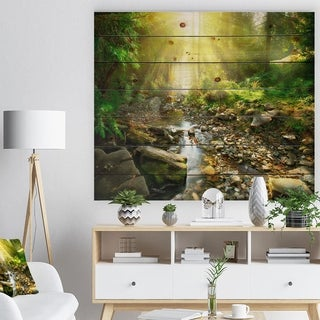 Designart 'Mountain Stream in Forest' Landscape Photography Print on Natural Pine Wood - Green