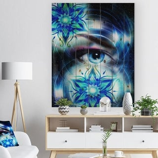 Designart 'Woman Eye with Fractal Flowers' Floral Art Print on Natural Pine Wood - Blue