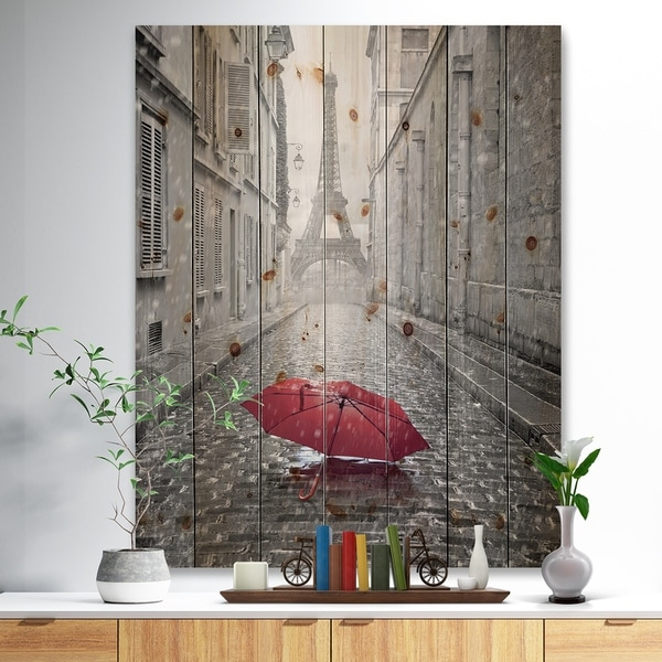 Designart 'Eiffel View from Paris Street' Cityscape Photo Print on Natural Pine Wood - Black