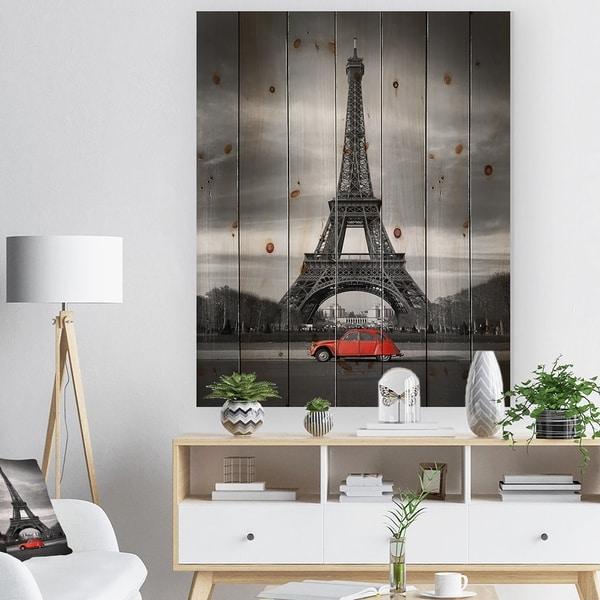 Designart 'Eiffel and Old Red Car' Large Landscape Print on Natural Pine Wood - Black