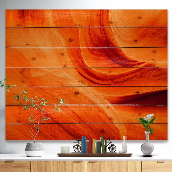 Designart 'Orange Upper Antelope Canyon' Landscape Photography Print on Natural Pine Wood - Orange