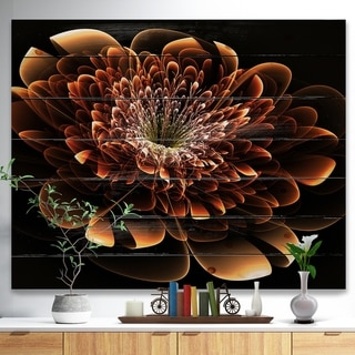 Designart 'Brown Fractal Flower' Modern Floral Print on Natural Pine Wood - Yellow