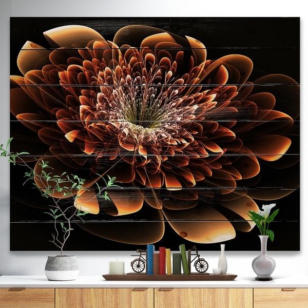 Designart 'Brown Fractal Flower' Modern Floral Print on Natural Pine Wood - Yellow