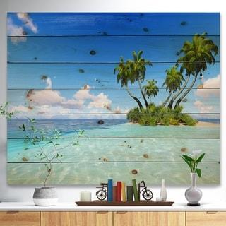 Designart 'Corals Island under Blue Sky' Seascape Print on Natural Pine Wood