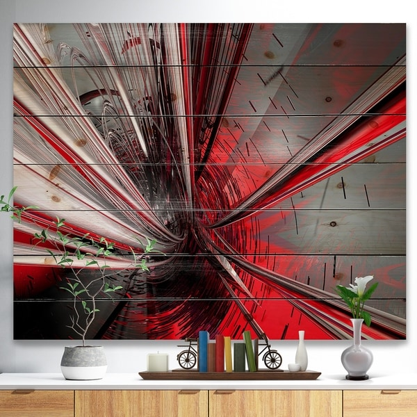 Designart 'Fractal 3D Deep into Middle' Contemporary Print on Natural Pine Wood - Red