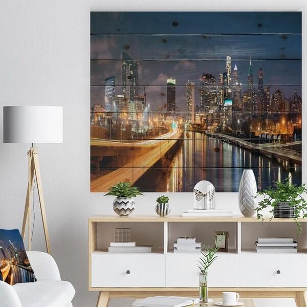Designart 'Philadelphia Skyline at Night' Cityscape Print on Natural Pine Wood - Multi-color
