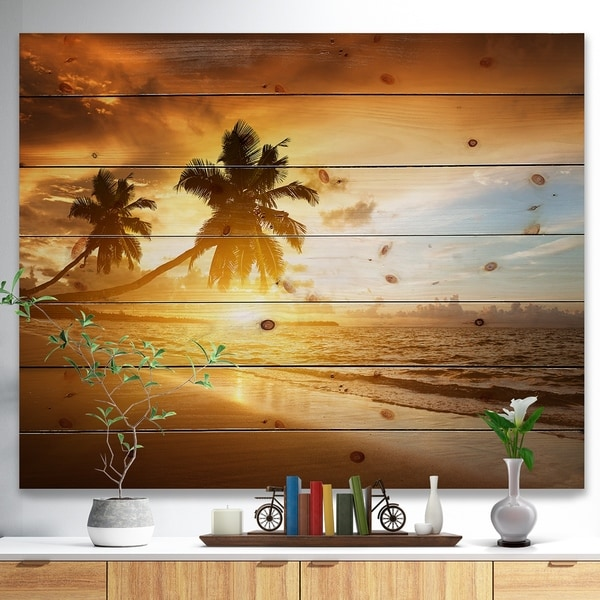 Designart 'Caribbean Seashore Sunset' Seascape Photography Print on Natural Pine Wood - Yellow