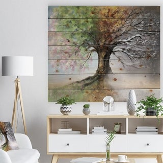 'Tree with Four Seasons' Tree Painting Print on Natural Pine Wood - Green