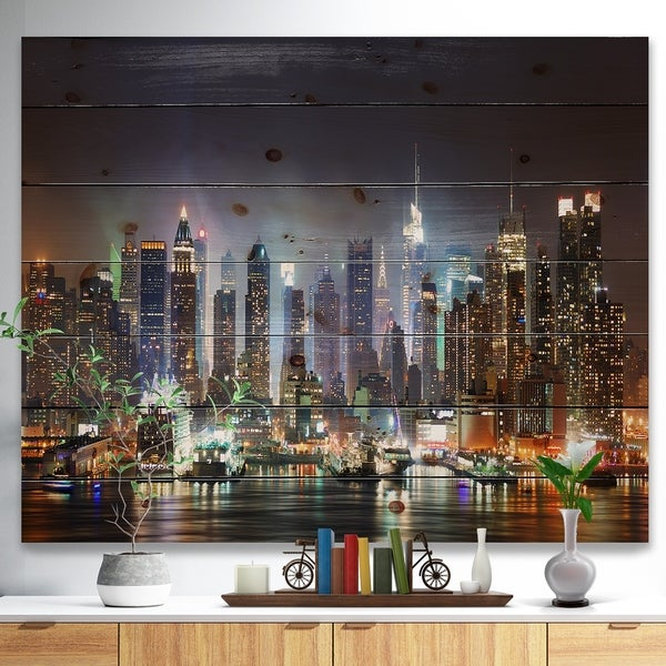 Designart 'New York Times Square in Blue Light' Cityscape Print on Natural Pine Wood