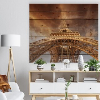 Designart 'Beautiful View of Paris Paris Eiffel Towerin Paris' Cityscape Print on Natural Pine Wood - Blue