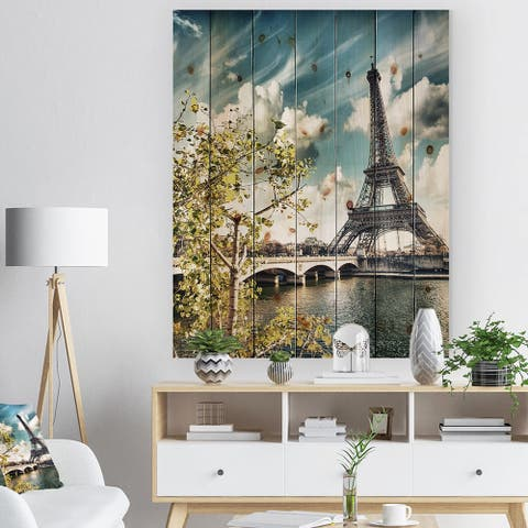 Designart 'Vegetation Near Paris Eiffel Tower' Landscape Photo Print on Natural Pine Wood - Blue