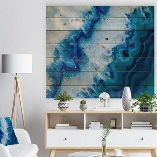 Designart 'Geode Slice Macro' Abstract Print on Natural Pine Wood - Blue