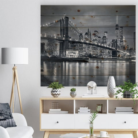 'Panorama New York City at Night' Cityscape Print on Natural Pine Wood - Blue