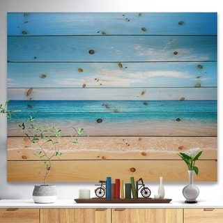Designart 'Wide Blue Sky Over Beach' Seashore Photo Print on Natural Pine Wood