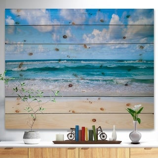 Designart 'Serene Blue Tropical Beach' Seashore Print on Natural Pine Wood - White