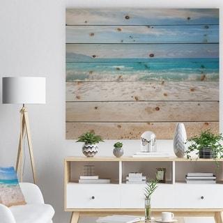 Designart 'White Waves Kissing Beach Sand' Seashore Print on Natural Pine Wood - White