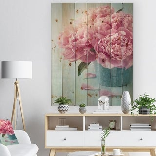 'Pink Peony Flowers in Vase' Floral Print on Natural Pine Wood - Blue