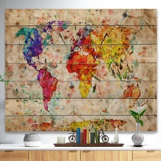 Designart 'Vintage World Map Watercolor' Map Print on Natural Pine Wood - Red