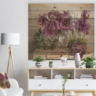 Designart 'Bouquet of Pink Peonies' Floral Art Print on Natural Pine Wood