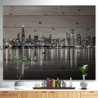 'Chicago Skyline at Night Black and White' Cityscape Print on Natural Pine Wood - Blue