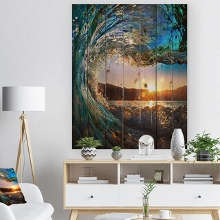 Designart 'Colored Ocean Waves Falling Down' Modern Seashore Print on Natural Pine Wood - Blue