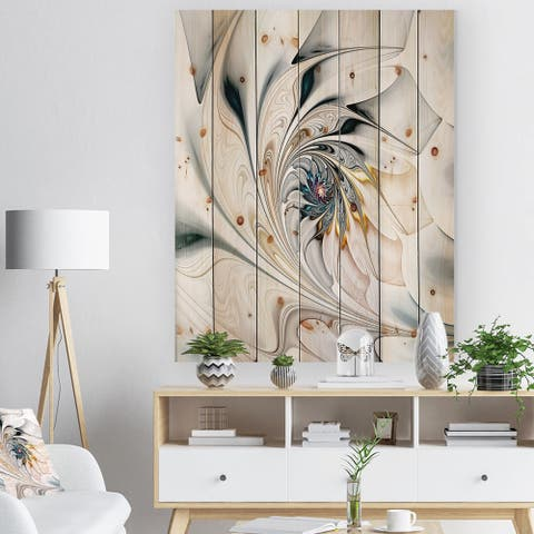 Designart 'White Stained Glass Floral Art' Floral Print on Natural Pine Wood - White