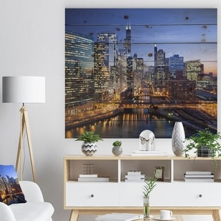 Designart 'Chicago River with Bridges at Sunset' Cityscape Print on Natural Pine Wood - Multi-color