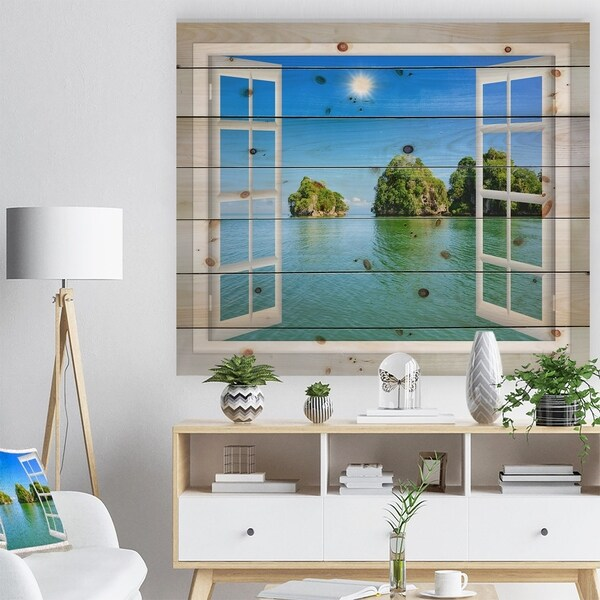 Designart 'Open Window to Ocean Islets' Landscape Print on Natural Pine Wood - Blue