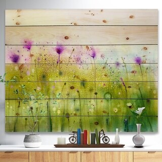 Designart 'Green Purple Abstract Cosmos of Flowers' Large Flower Print on Natural Pine Wood - Red