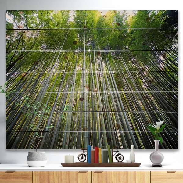 Designart 'Bamboo forest of Kyoto Japan.' Forest Print on Natural Pine Wood - Multi-color